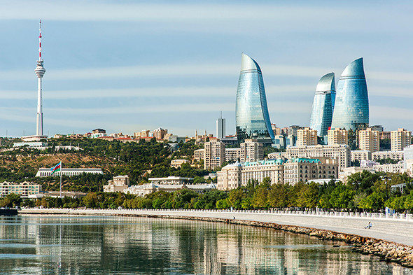Baku Bay and the Baku skyline and promenade.